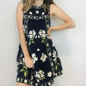 Anthro navy embroidered floral dress